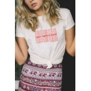THEY THEM PLEASE Letter Printed Round Neck Short Sleeve Tee