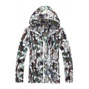 Trendy Camouflage Printed Long Sleeve Zip Up Sun Proof Hooded Coat