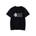 Cross Letter Printed Round Neck Short Sleeve Tee