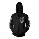 Cool Skull Letter Printed Long Sleeve Zip Up Hoodie