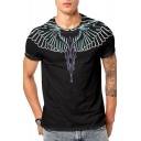 3D Wing Printed Round Neck Short Sleeve Tee