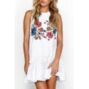 Floral Printed Sleeveless Ruffle Hem Mini A-Line Dress
