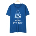 KEEP CALM Letter Geometric Printed Round Neck Short Sleeve Tee