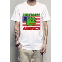 AMERICA Letter Frog Printed Round Neck Short Sleeve Tee