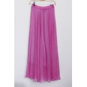 Bohemia Style Elastic Waist Plain Maxi Chiffon A-Line Skirt
