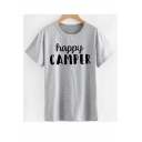 HAPPY CAMPER Letter Printed Round Neck Short Sleeve Tee