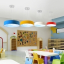 Unique Round Shade Hanging Light with Cloud Design Kindergarten Acrylic LED Lighting Fixture