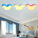 Cartoon Mouse Flush Light Blue/Pink/White Acrylic LED Ceiling Flush Mount for Kids Nursing Room