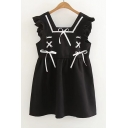 Square Neck Sleeveless Lace Up Embellished Mini A-Line Dress