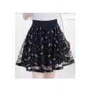 Leaf Embroidered Mesh Insert High Waist Mini A-Line Skirt