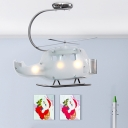 Adorable Helicopter Chandelier Light Boys Room Amusement Park Glass 3 Lights Hanging Lamp in Silver