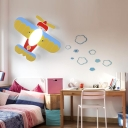 Prop Plane LED Flush Mount Modern Style Nursing Room Children Decorative Wooden 1 Light Ceiling Lamp