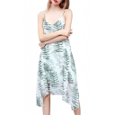 Chic Leaf Printed Spaghetti Straps Sleeveless Midi Asymmetric Hem Dress