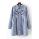 Cat Embroidered Striped Printed Lapel Collar Long Sleeve Buttons Down Tunic Loose Shirt