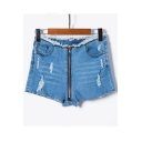 Zipper Front Ripper Detail Hot Pants Skinny Denim Shorts