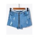 Zipper Front Ripper Detail Hot Pants Skinny Denim Shorts