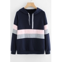 Color Block Long Sleeve Leisure Loose Hoodie