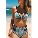 Floral Geometric Printed Hollow Out Detail Spaghetti Straps High Waist Bottom Bikini