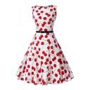 Cherry Printed Round Neck Sleeveless Midi A-Line Dress