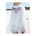 Eagle Printed Back Floral Lace Insert Long Sleeve Open Front Cover Up