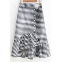 Buttons Down Plaid Printed Elastic Waist Midi Asymmetric Hem Skirt