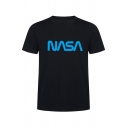 Simple NASA Letter Printed Round Neck Short Sleeve Tee