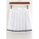 Contrast Striped Zipper Fly Mini Pleated Skirt