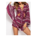 Tribal Printed V Neck Tied Front Long Sleeve Loose Romper