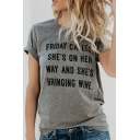 FRIDAY CALLED Letter Printed Round Neck Short Sleeve Tee