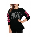 Round Neck Letter Floral Printed Long Sleeve Sweatshirt