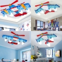Blue Prop Plane Ceiling Lamp Acrylic 3/4 Lights LED Flush Mount Lighting for Boys Bedroom Game Room