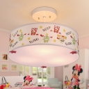 Fabric Drum Semi Flush Mount Cartoon Modern Children Bedroom 3 Lights Ceiling Lamp in White