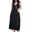 Chic Straps Sleeveless Plain Maxi A-Line Dress