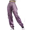 High Waist Loose Elastic Cuff Plain Pants with Pockets
