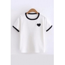Contrast Trim Round Neck Short Sleeve Heart Printed Knit Tee
