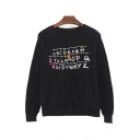 ABCD Letter Bulb Printed Round Neck Long Sleeve Sweatshirt