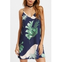 Palm Leaf Printed Spaghetti Straps Sleeveless Mini Cami Dress
