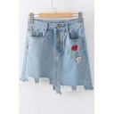 Floral Embroidered Button Fly Cut Out Detail Mini Asymmetric Denim Skirt