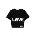 LOVE Letter Printed Round Neck Short Sleeve Hollow Out Crop Tee