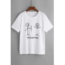 Comic Cartoon Character I'VE GOT YOUR BACK Letter Printed Round Neck Short Sleeve Tee