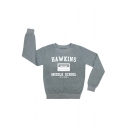 HAWKINS Letter Magnetic Tape Printed Round Neck Long Sleeve Sweatshirt