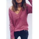 Reversible V Neck Long Sleeve Plain Sweater
