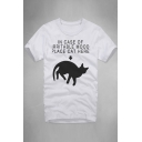 IN CASE OF Letter Cat Printed Round Neck Short Sleeve Tee