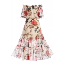 Elegant Floral Printed Off The Shoulder Short Sleeve Maxi A-Line Dress
