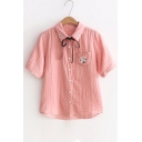 Floral Embroidered Lapel Collar Short Sleeve Buttons Down Shirt with Bow