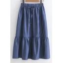 Drawstring Waist Plain Denim Midi A-Line Skirt