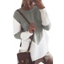 Color Block Round Neck Long Sleeve Leisure Sweater