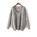 V Neck Long Sleeve Plain Pullover Sweater