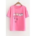 CATS Letter Animal Paw Printed Round Neck Short Sleeve Tee
