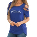 Paw Heart Wave Printed Round Neck Hollow Out Short Sleeve Leisure Tee